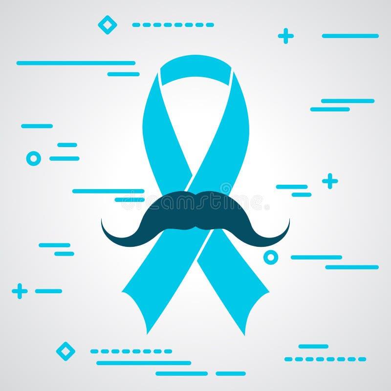 Illustration Of Prostate Cancer Awareness Blue Ribbon Symbol Wit