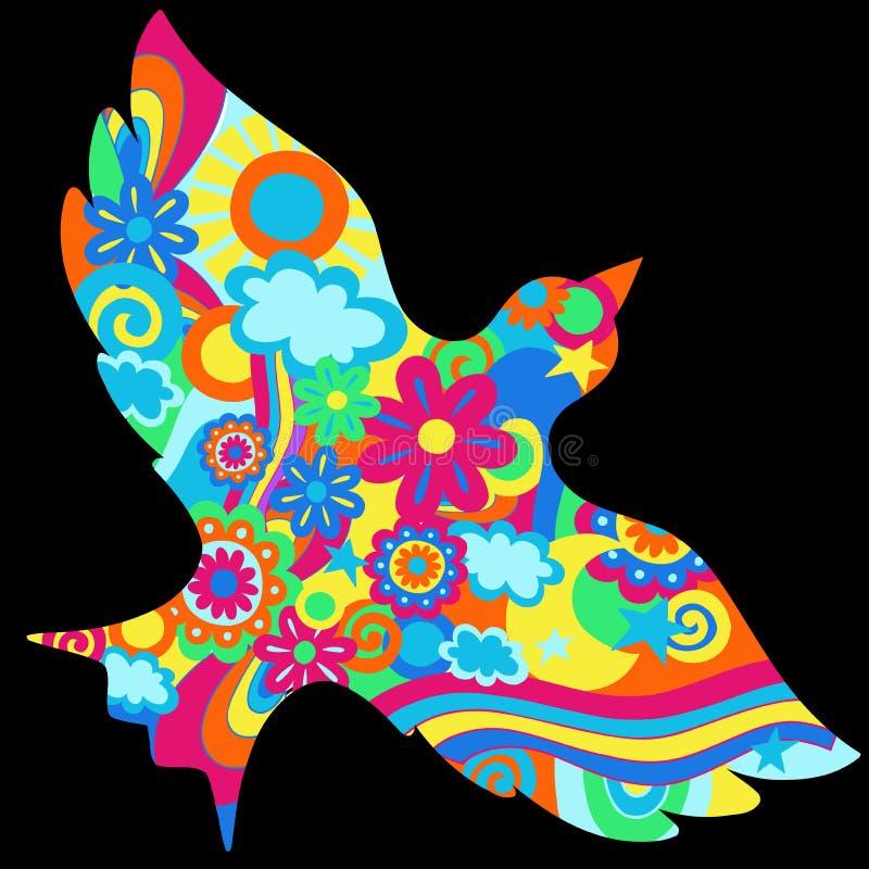 Illustration psychédélique de vecteur de colombe illustration stock