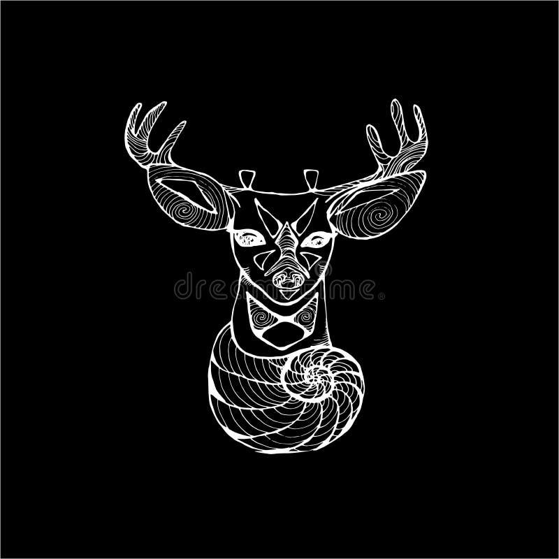 An illustration of a psychedelic deer. Fractal spiral flower and deer. Chalk on a blackboard. An illustration of a psychedelic deer. Fractal spiral flower and royalty free illustration