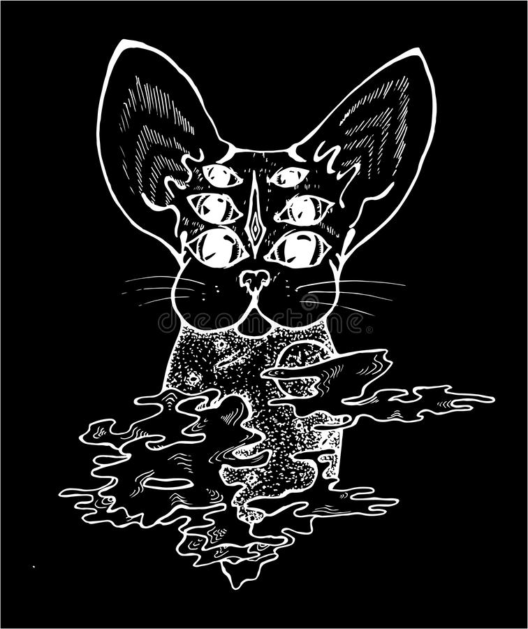 An illustration of a psychodelic cat. Black and white drawing of a cat. Chalk on a black oard. vector illustration