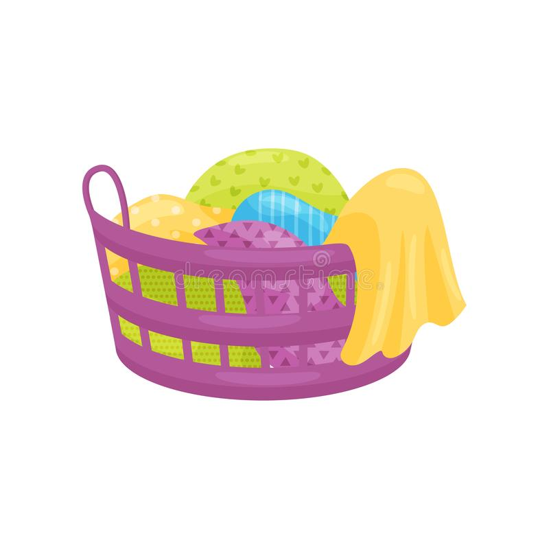 Purple plastic basket full of clean or dirty linens and blankets. Laundry theme. Flat vector design. vector illustration