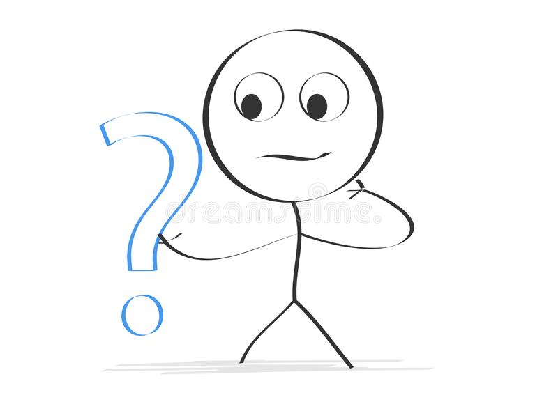 Puzzled character with question stock image