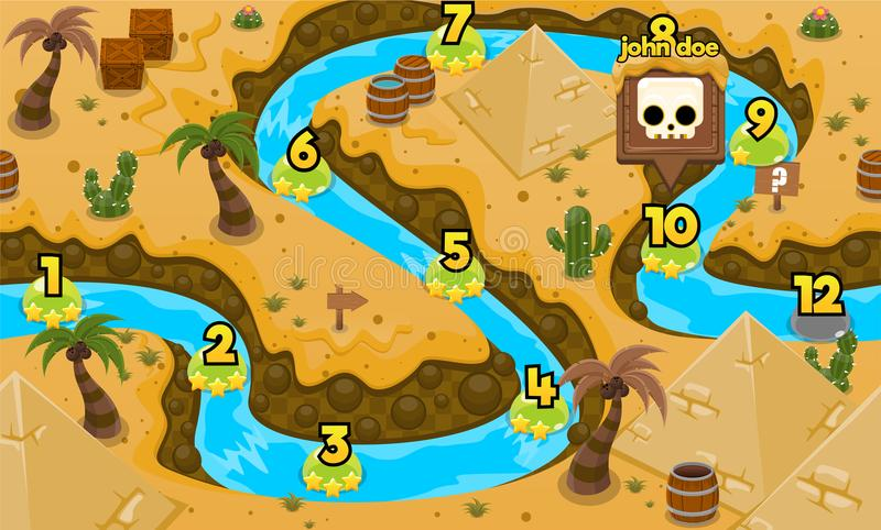 Pyramid Desert Nile River Game Level Map. Illustration of pyramid in Nile River for creating game level map for adventure or puzzle games vector illustration