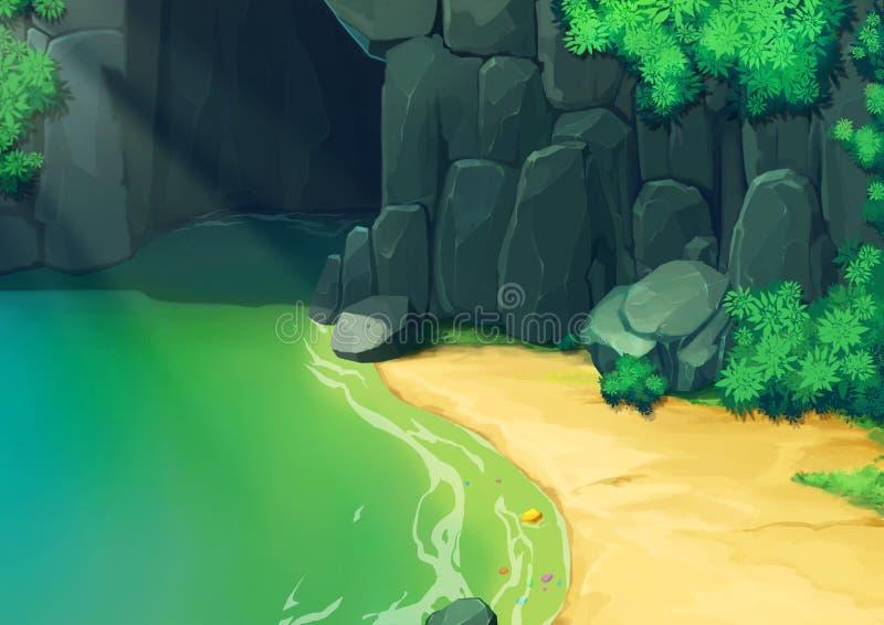 Illustration : Qu'y a-t-il dans la caverne foncée ? illustration stock