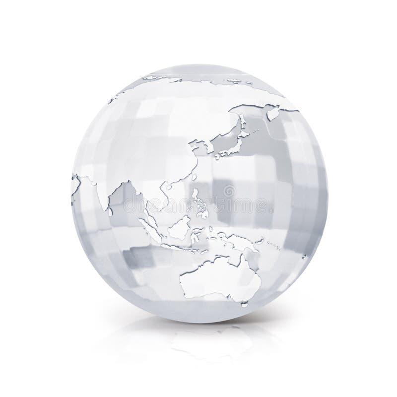 Illustration quadratischer Asien- u. Australien-GlasWeltkarte 3D lizenzfreie abbildung