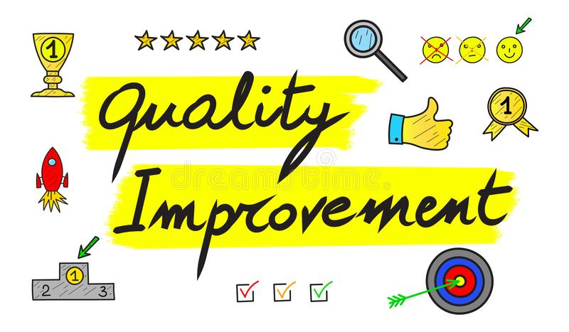 Concept of quality improvement. Illustration of a quality improvement concept vector illustration