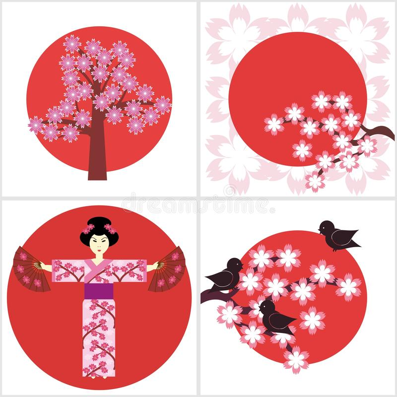 Illustration quatre dans le style japonais illustration stock
