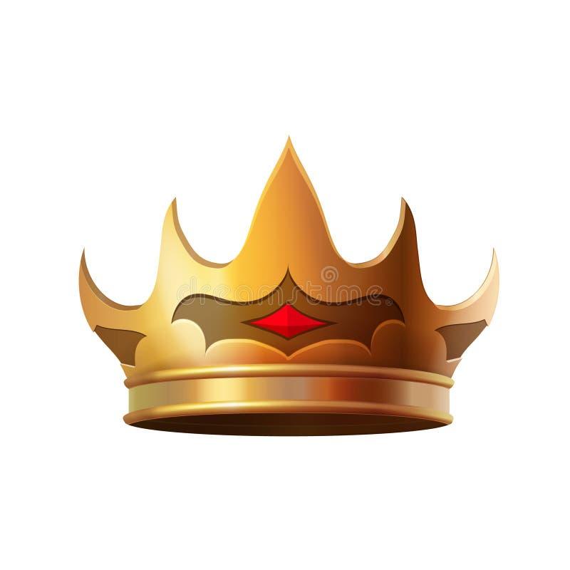 Illustration réaliste d'isolement d'icône de couronne d'or illustration libre de droits