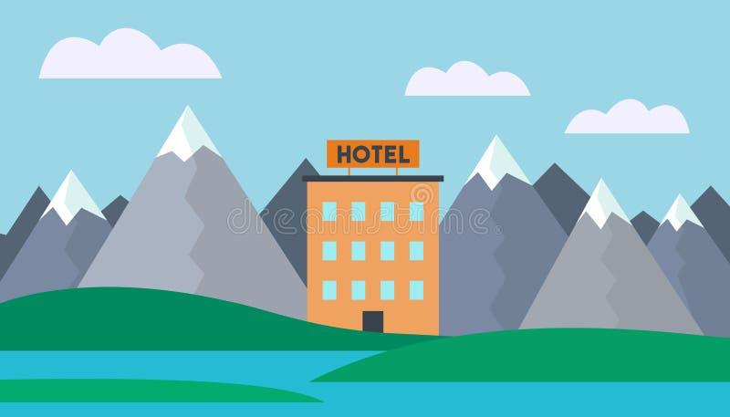 Illustration réaliste d'un paysage de montagne avec l'eau et un bâtiment d'hôtel sur le rivage d'un lac sous un ciel bleu avec illustration stock