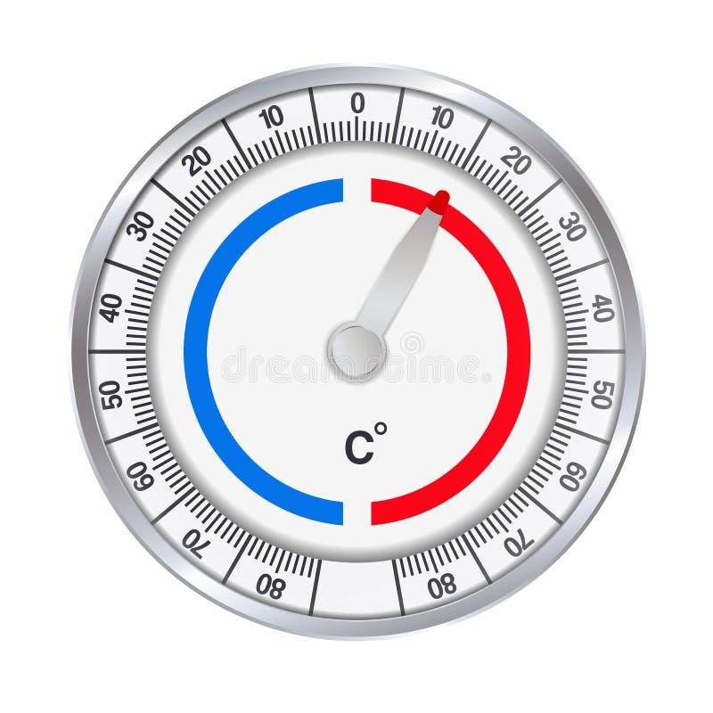 Illustration réaliste d'un thermomètre de rond en métal pour mesurer des degrés Celsius du froid et de la chaleur D'isolement sur illustration libre de droits