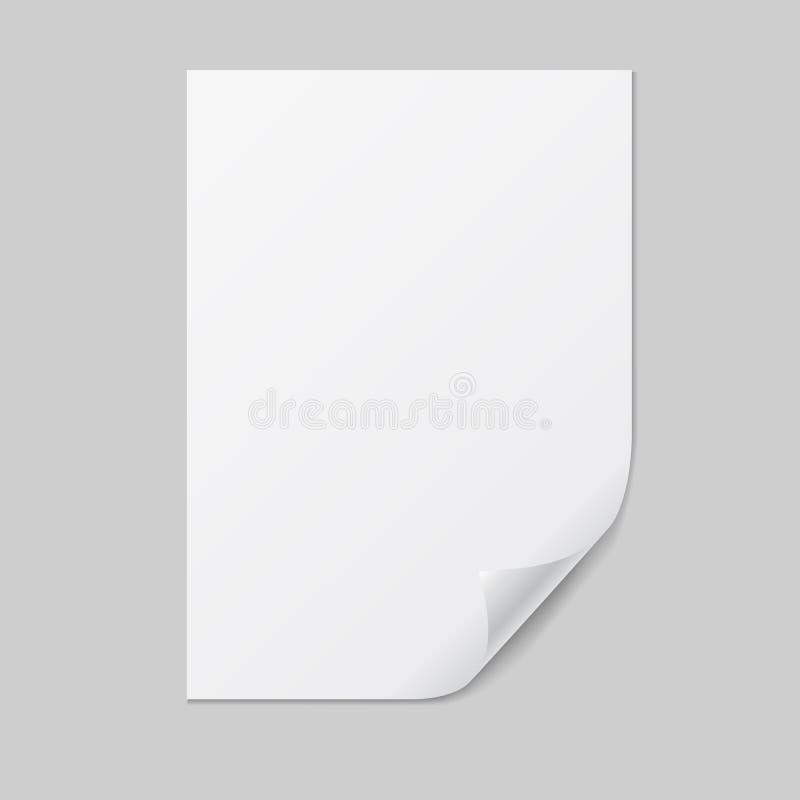 Illustration réaliste d'une feuille du papier A4 avec le coin plié et de l'espace pour votre texte D'isolement sur le fond blanc, illustration libre de droits