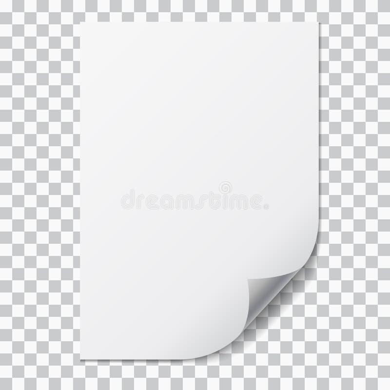 Illustration réaliste d'une feuille du papier A4 avec le coin plié et de l'espace pour votre texte D'isolement sur le fond transp illustration libre de droits