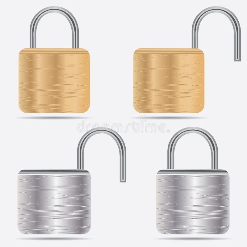 Illustration réaliste de cadenas Icône fermée de degré de sécurité de serrure d'isolement sur le blanc illustration stock