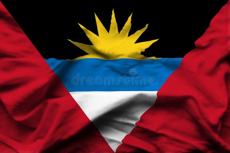Illustration réaliste de drapeau d'Antigua et de Barbuda illustration stock