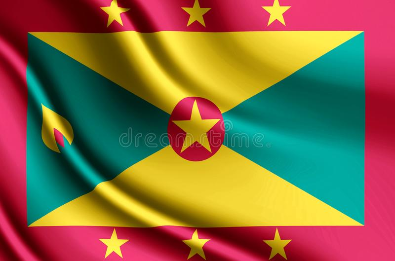 Illustration réaliste de drapeau du Grenada illustration stock