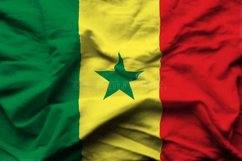 Illustration réaliste de drapeau du Sénégal illustration libre de droits
