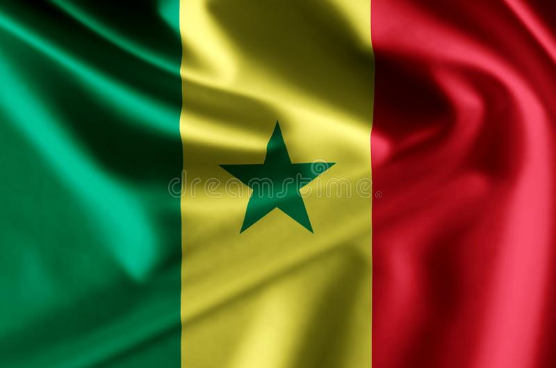 Illustration réaliste de drapeau du Sénégal illustration stock
