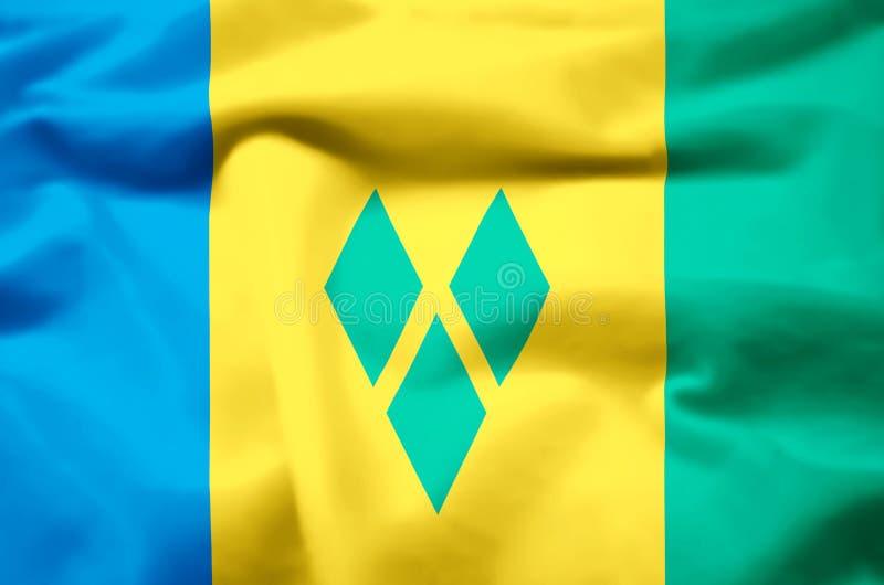 Illustration réaliste de drapeau du Saint-Vincent-et-les Grenadines illustration libre de droits