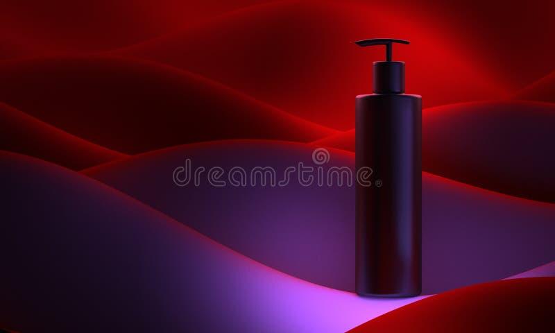 Illustration réaliste de la bouteille 3d Pompe de savon sur les vagues abstraites de couleur de fond Shampooing cosmétique de sou illustration libre de droits