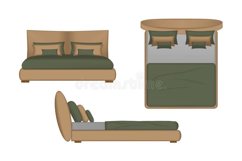 Illustration réaliste de lit Dessus, avant, vue de côté pour votre conception intérieure Créateur de scène illustration stock
