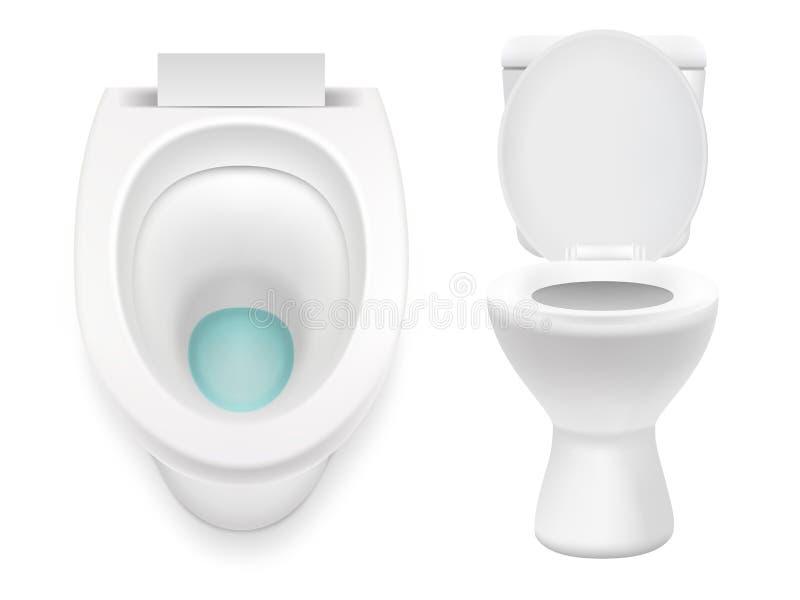 Illustration réaliste de toilette de vecteur réglé blanc d'icône illustration libre de droits