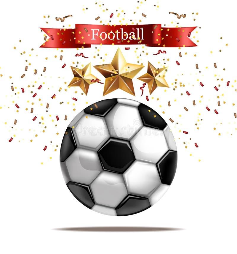 Illustration réaliste de vecteur de ballon de football Célébration du football Calibres de scintillement des étoiles 3d illustration stock
