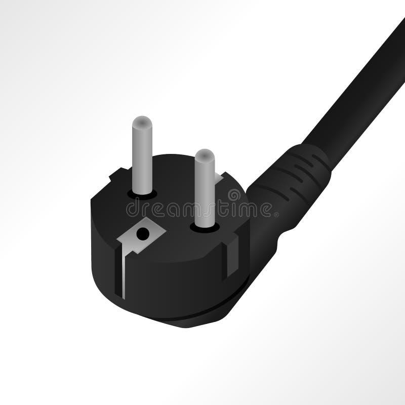Illustration réaliste de vecteur de câble de cordon de secteur d'ordinateur illustration stock