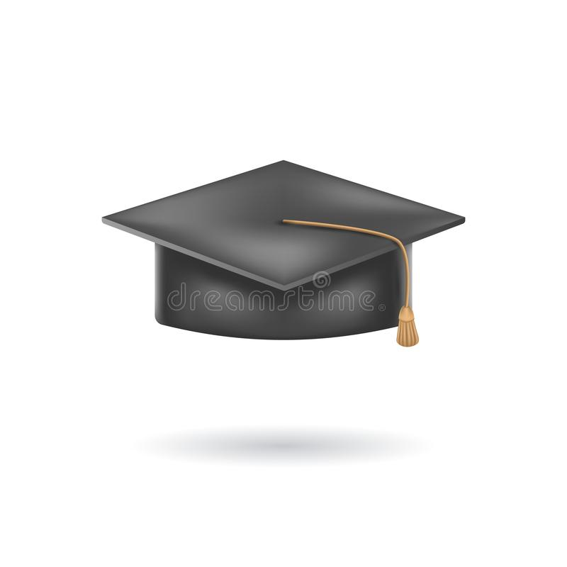 Illustration réaliste de vecteur de chapeau ou de chapeau d'obtention du diplôme Chapeau scolaire d'obtention du diplôme d'isolem illustration libre de droits