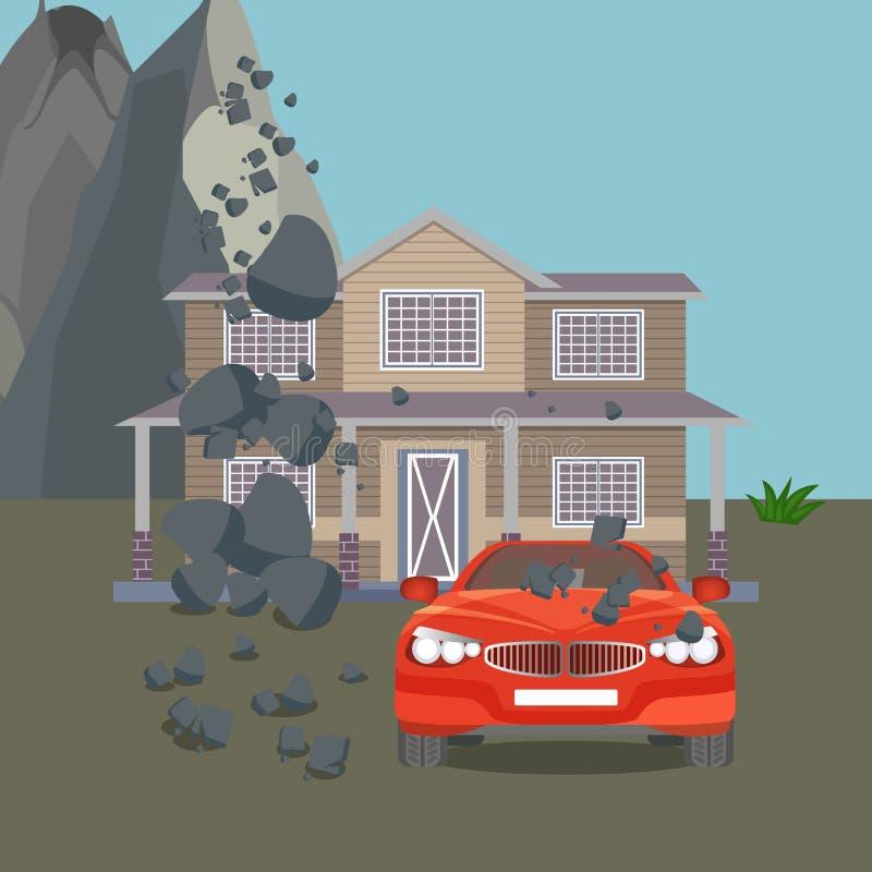 Illustration réaliste de vecteur de catastrophe naturelle d'inondation Maison de cottage, voiture, arbres illustration de vecteur