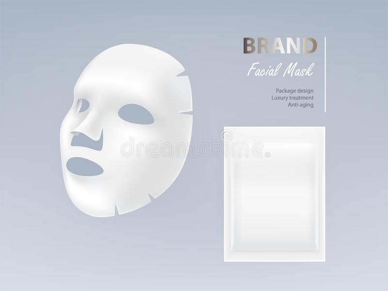 Illustration réaliste de vecteur du masque facial blanc illustration de vecteur