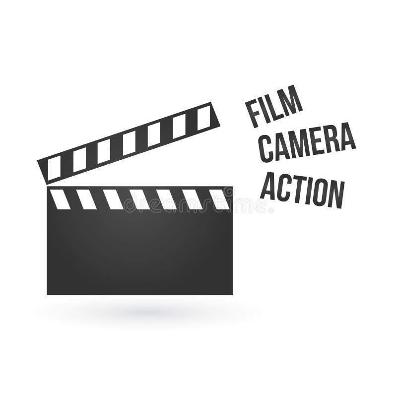 Illustration réaliste de vecteur de la claquette ou du clapet ouverte de film d'isolement sur le fond Panneau noir d'ardoise de c illustration stock