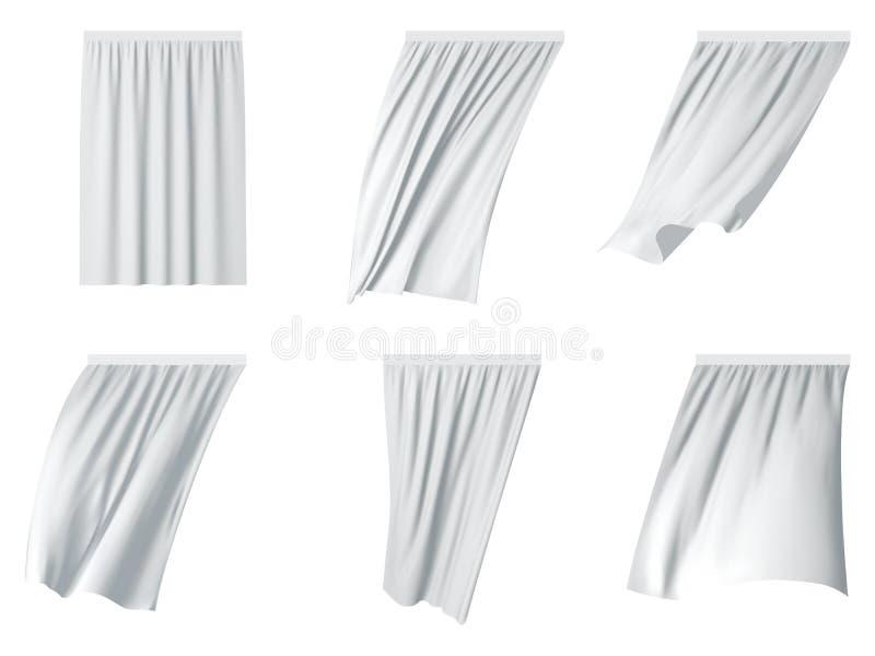 Illustration réaliste de vecteur réglé blanc de rideau illustration libre de droits