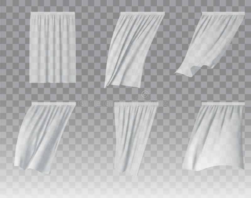 Illustration réaliste de vecteur réglé blanc de rideau illustration stock