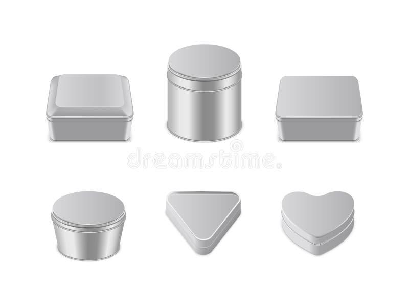 Illustration réaliste de vecteur réglé d'icône de boîte en métal illustration libre de droits