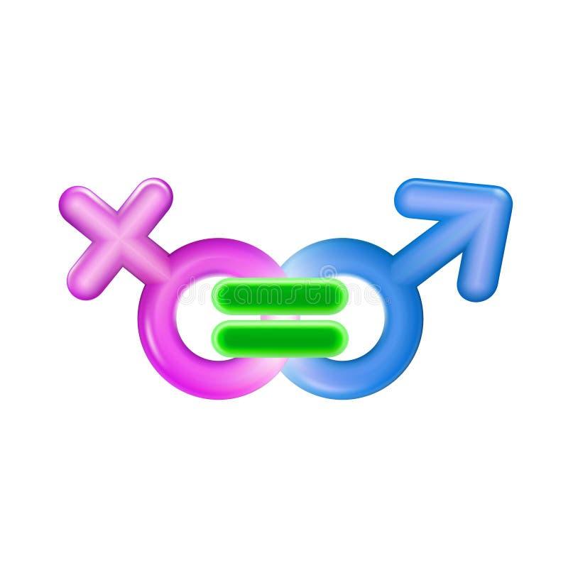 Illustration réaliste en plastique d'icône de concept d'égalité entre les sexes Rose et égal bleu de symbole de sexe de mâle et f illustration libre de droits