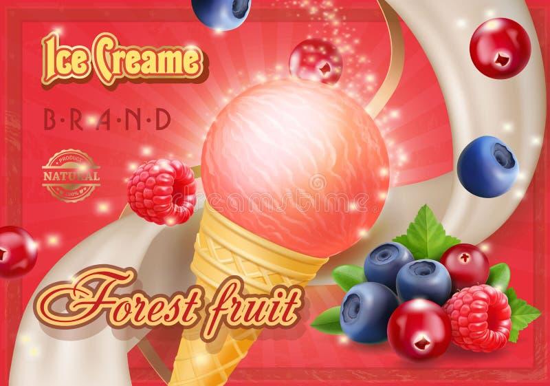 Illustration réaliste mélangée de la publicité de crème glacée de baies de forêt illustration libre de droits