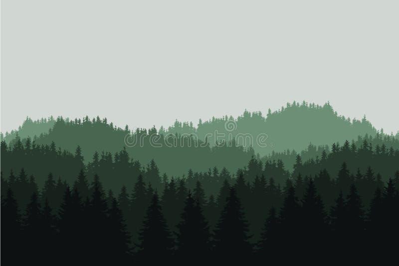 Illustration réaliste plate d'un paysage vert de montagne avec la forêt conifére avec des arbres et des collines sous un ciel gri illustration libre de droits