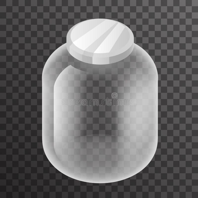 Illustration réaliste transparente de vecteur de conception de l'icône 3d de maquette de fond de pot de signe en verre vide isomé illustration de vecteur