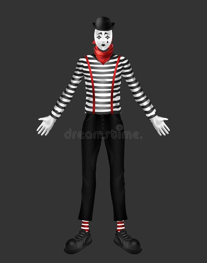 Illustration réaliste triste de vecteur du costume 3d de pantomime illustration libre de droits