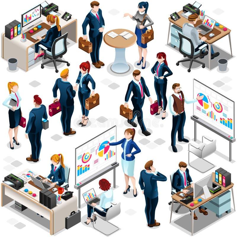 Illustration réglée à la mode de vecteur de l'icône 3D de travail d'équipe de personnes isométriques illustration libre de droits