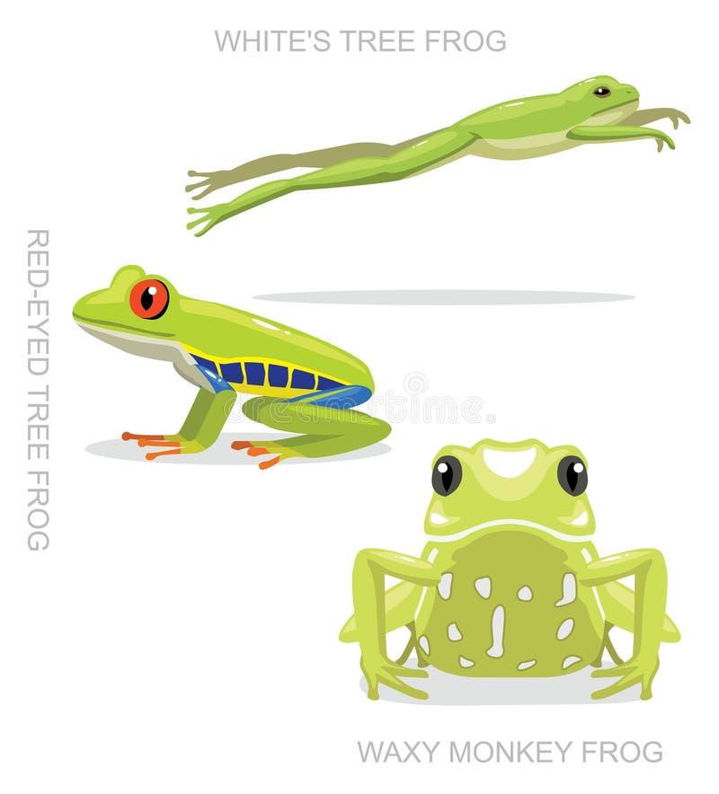 Illustration réglée aux yeux rouges de vecteur de bande dessinée de grenouille d'arbre illustration stock