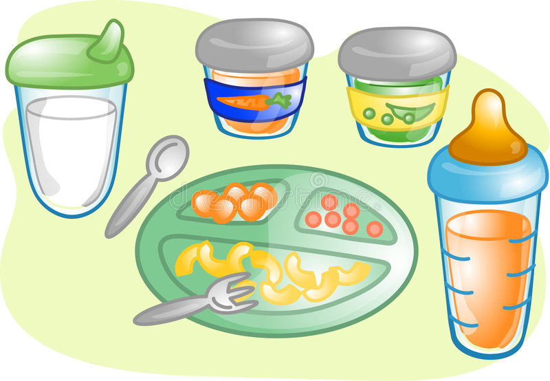 Illustration réglée d'aliment pour bébé illustration stock