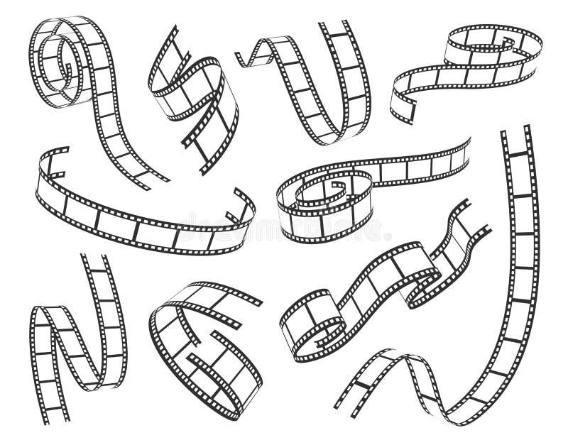 Illustration réglée de vecteur de bande de film sur le fond blanc illustration de vecteur
