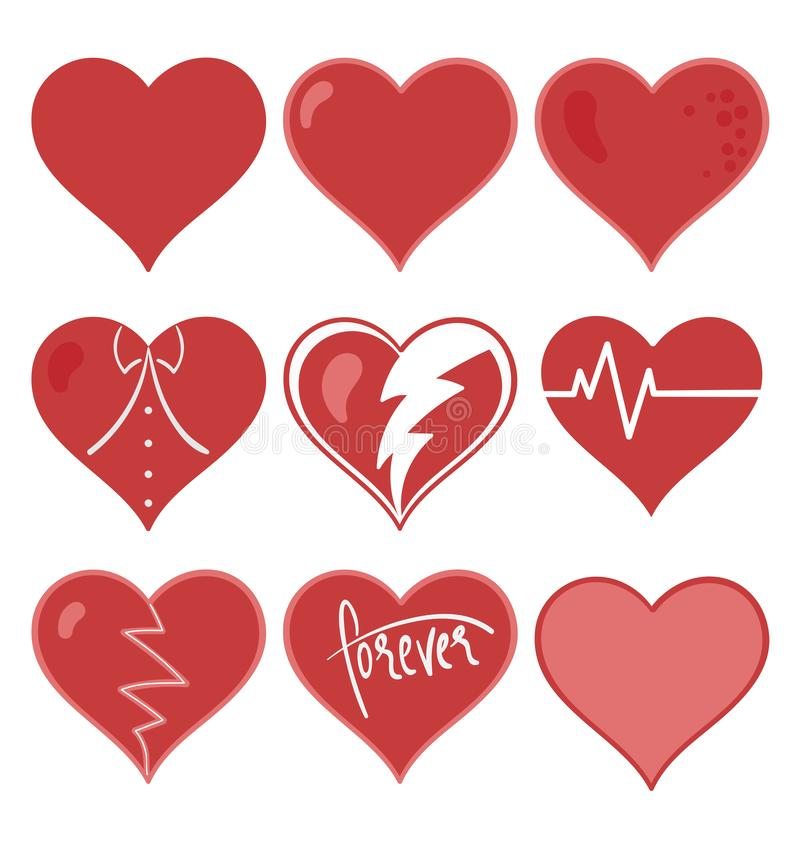 Illustration réglée de vecteur de coeur rouge mat photographie stock libre de droits