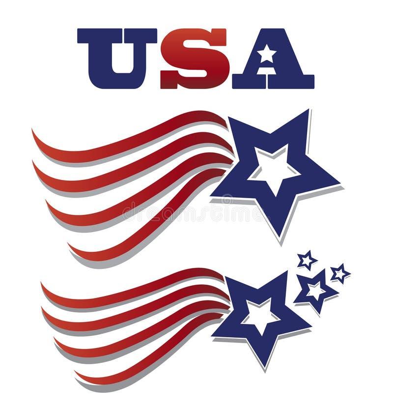 Illustration réglée de vecteur d'icône de drapeau d'étoile des Etats-Unis illustration de vecteur