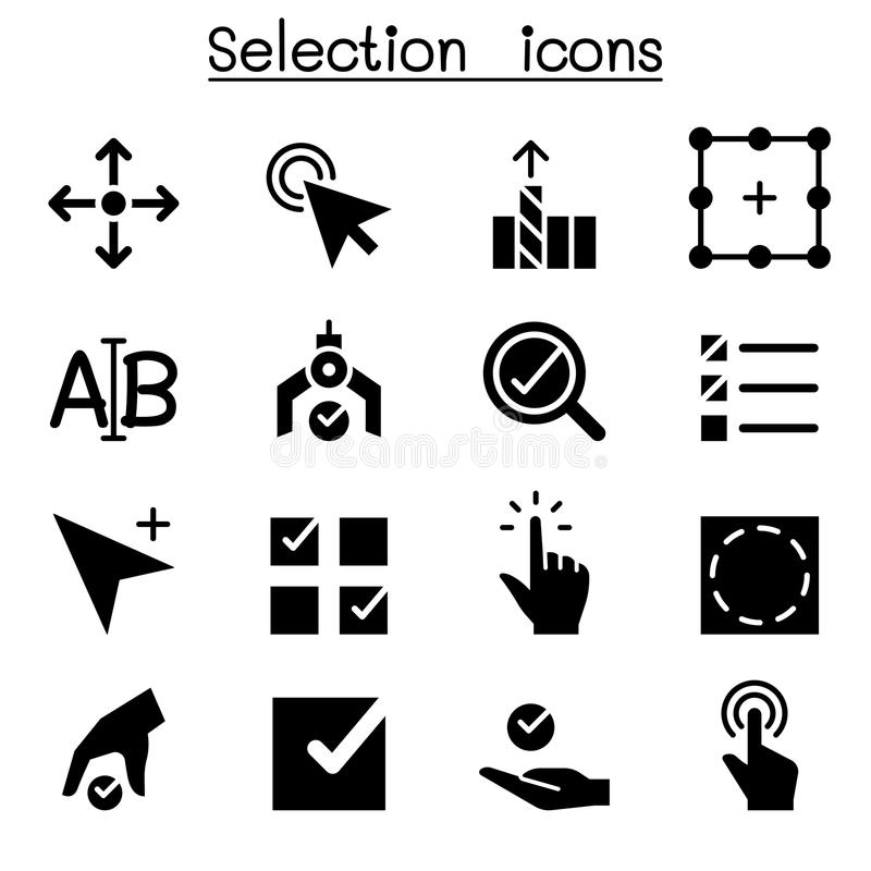 Illustration réglée de vecteur d'icône de sélection illustration de vecteur