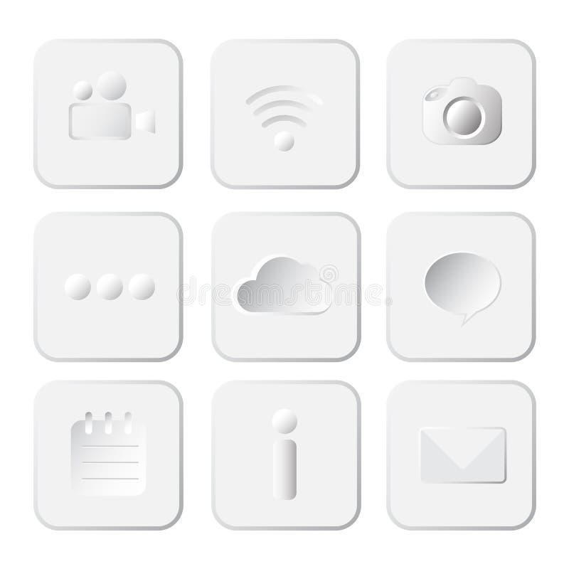 Illustration réglée de vecteur d'icône d'application illustration stock