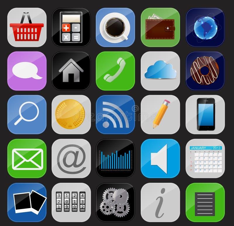 Illustration réglée de vecteur d'icône d'Apps illustration stock