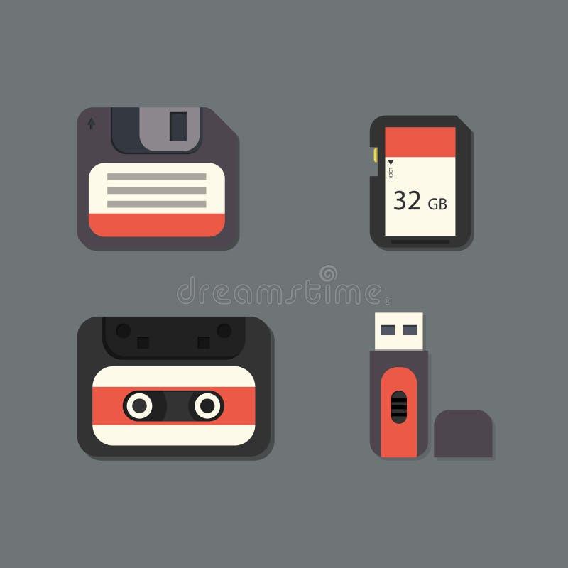Illustration réglée de vecteur d'icône de dispositifs de données numériques illustration de vecteur