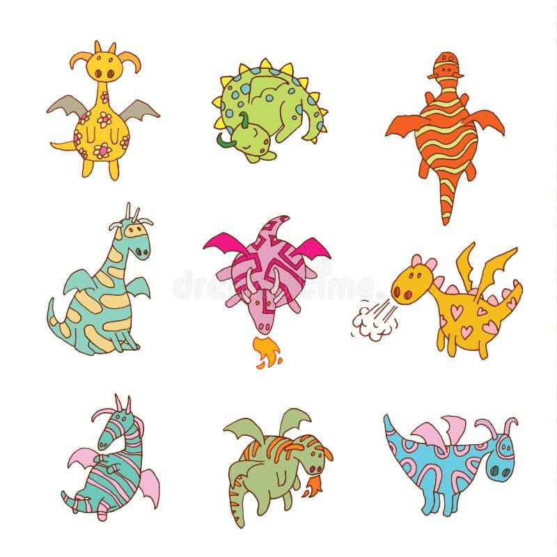 Illustration réglée de vecteur d'icône de dragon du feu de bande dessinée illustration libre de droits